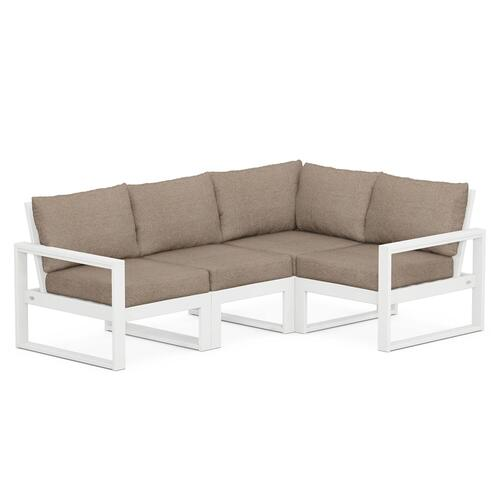 Polywood Furnishings - EDGE 4-Piece Modular Deep Seating Set in White / Spiced Burlap