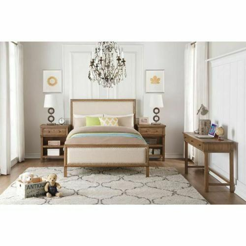 ACME Inverness Full Bed - 36085F - Beige Linen & Reclaimed Oak