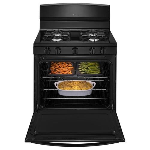 30-inch Gas Range with EasyAccess Broiler Door Black