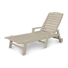 Polywood Furnishings - Nautical Chaise with Arms & Wheels in Sand