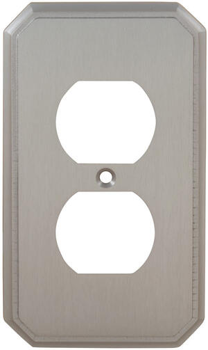 Duplex Receptacle Traditional Switchplate in (US15 Satin Nickel Plated, Lacquered) Product Image