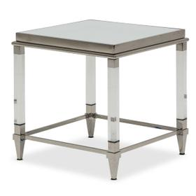 End Table W/glossy White Glass Top