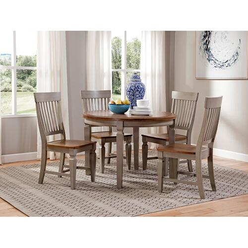 Solid Round Top Table in Hickory & Stone