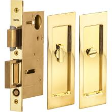 Pocket Door Lock with Modern Rectangular Trim featuring Turnpiece and Emergency Release in (US3A Polished Brass, Unlacquered)