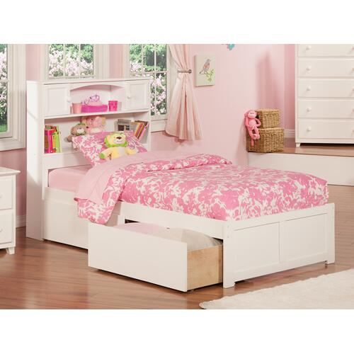 Newport Twin Flat Panel Foot Board with 2 Urban Bed Drawers White
