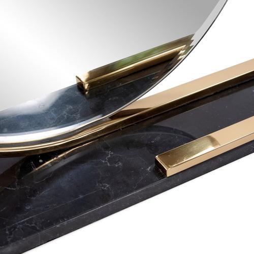 Howard Elliott - Gatsby Table Mirror with Black Marble Tray