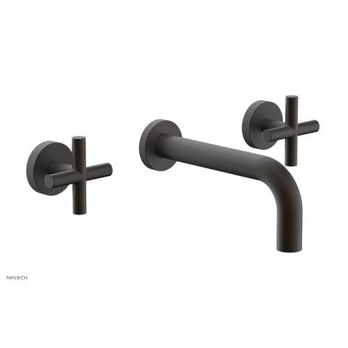 """Phylrich - TRANSITION - Wall Lavatory Set 7 1/2"""" Spout - Cross Handles 120-11 - Oil Rubbed Bronze"""
