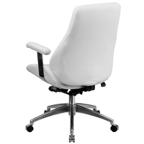 Mid-Back White Leather Executive Swivel Chair with Arms