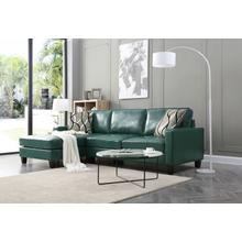 See Details - Glenbrook Faux Leather Sectional, Turquoise
