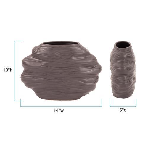 Howard Elliott - Graphite Organic Abstract Vase, Wide