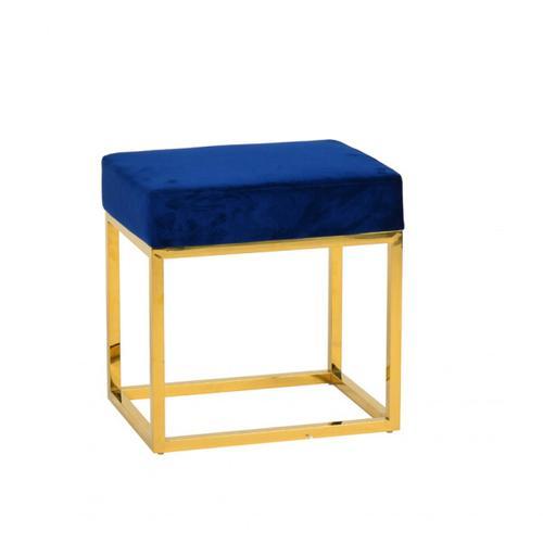 VIG Furniture - Modrest Downey Modern Blue Velvet & Gold Stool Ottoman