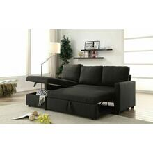 ACME Hiltons Sectional Sofa w/Sleeper & Storage - 52300 - Charcoal Linen