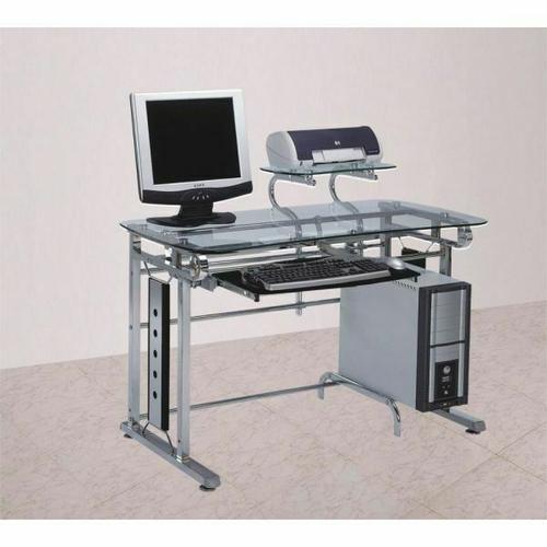 Acme Furniture Inc - ACME Felix Computer Desk - 92040 - Silver Chrome & Clear Glass