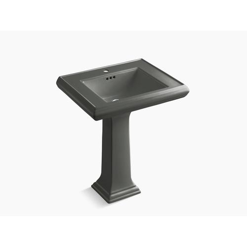 """Thunder Grey Classic 27"""" Pedestal Bathroom Sink With Single Faucet Hole"""
