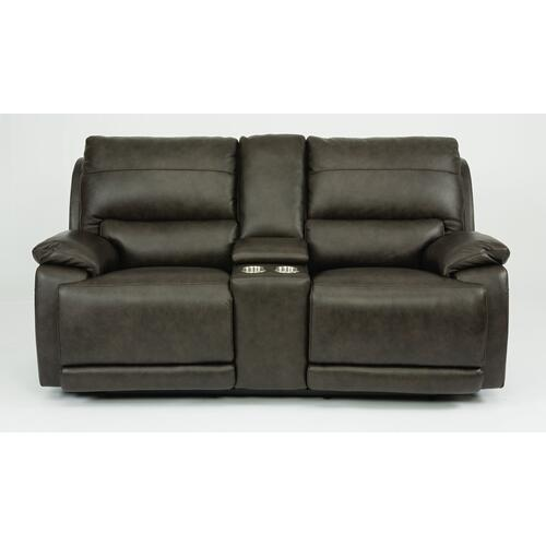Horizon Power Reclining Loveseat with Console & Power Headrests