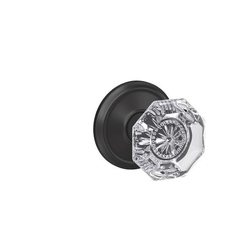 Custom Alexandria Non-Turning Glass Knob with Alden Trim - Matte Black