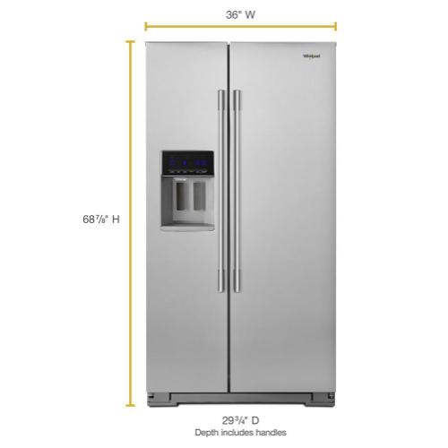 Whirlpool - 36-inch Wide Contemporary Handle Counter Depth Side-by-Side Refrigerator - 21 cu. ft.