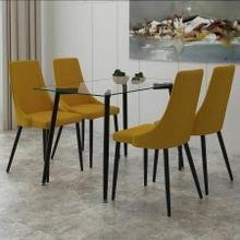 See Details - Abbot/Venice 5pc Dining Set, Black/Mustard