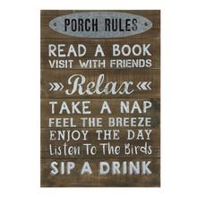 """See Details - 16-1/2""""L x 24""""H Wood Wall Decor """"Porch Rules"""""""