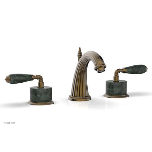 VALENCIA Widespread Faucet Green Marble K338F - Antique Brass