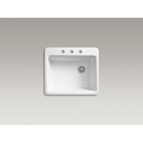 "Black Black 25"" X22"" X 9-5/8"" Top-mount Single-bowl Kitchen Sink With Sink Rack"