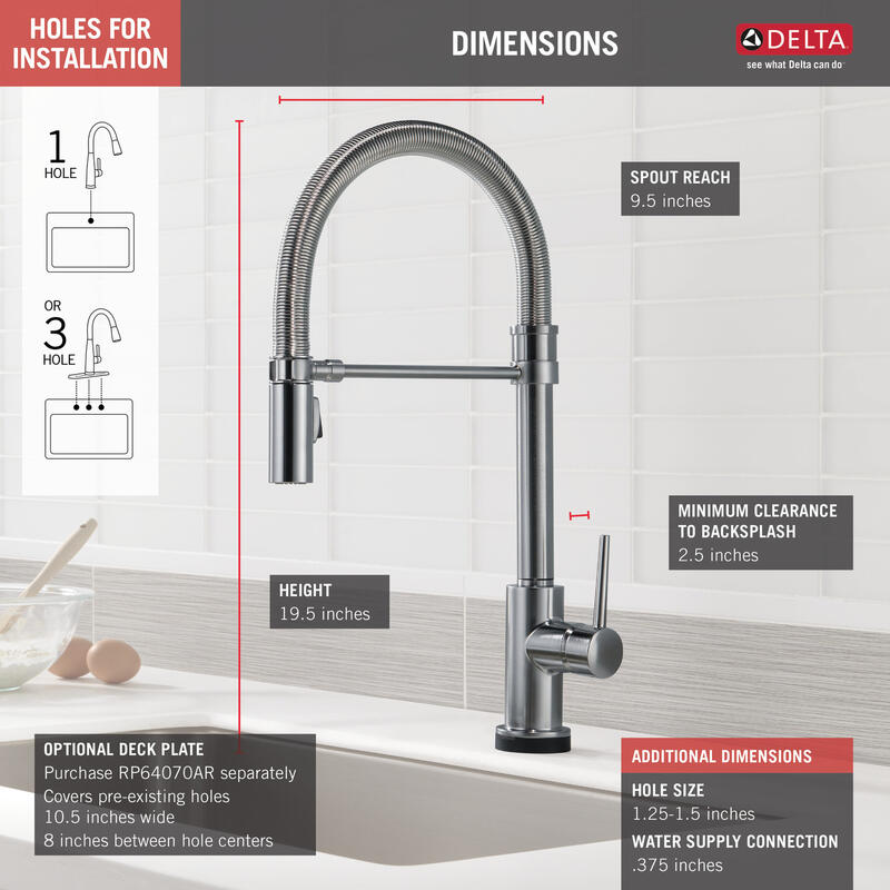 Delta Faucet Company 9659tardst Studio41 Arctic Stainless Single Handle Pull Down Spring Spout Kitchen Faucet With Touch 2 O Technology