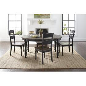 Madison County Round To Oval Table & 4 Chairs Vintage Black