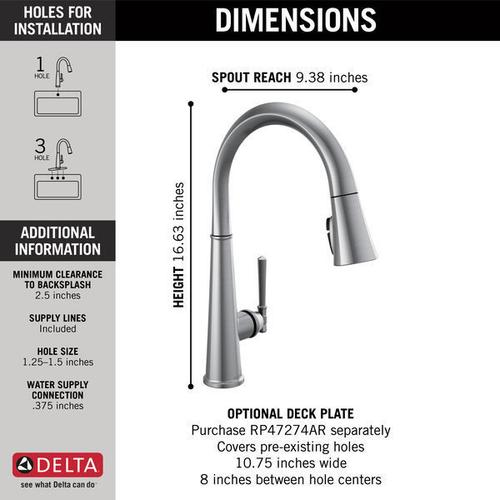 Lumicoat Arctic Stainless Single Handle Pull Down Kitchen Faucet