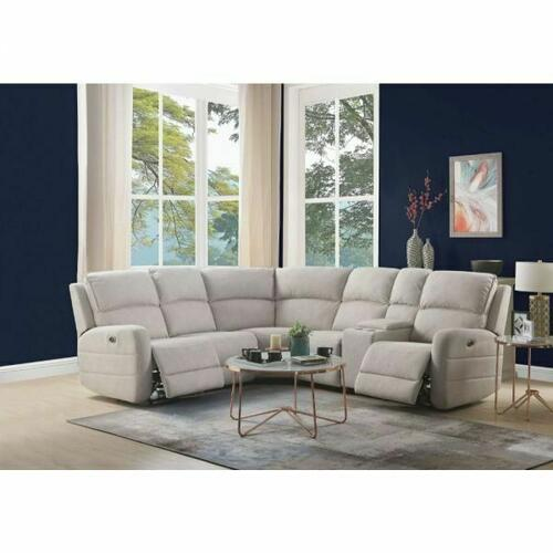 ACME Olwen Sectional Sofa (Power Motion & USB) - 53920 - Cream Nubuck