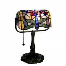 View Product - Indoor 1-light Dragonfly Bronze Banker Desk Lamp
