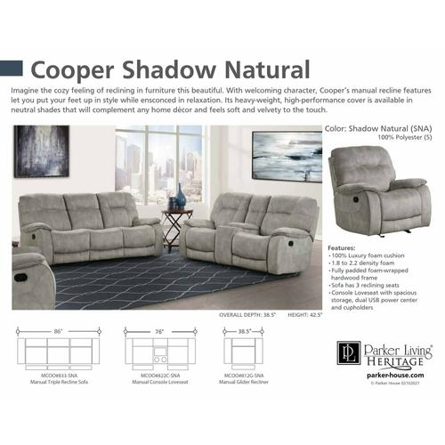 Parker House - COOPER - SHADOW NATURAL Manual Triple Reclining Sofa