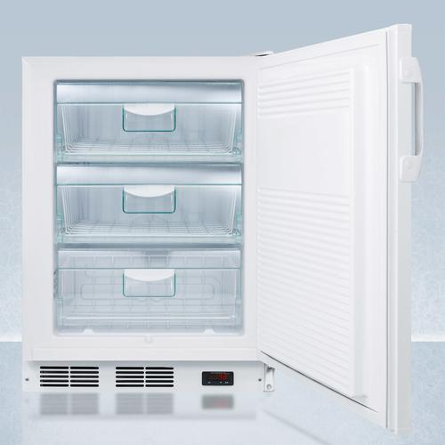 """ADA Compliant 24"""" Wide All-freezer for Built-in Commercial Use, Manual Defrost With A Thermometer, Lock, and -25 c Capability"""