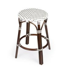 See Details - Evoking images of sidewalk tables in the Cote d'Azur, counter stools like this will give your kitchen or patio the casual sophistication of a Mediterranean coastal bistro. Expertly crafted from thick bent rattan for superb durability, it features weather resistant woven plastic in a dark brown and white pattern. This backless counter stool is lightweight for easy mobility with comfort to make the space it's in a frequent gathering place.