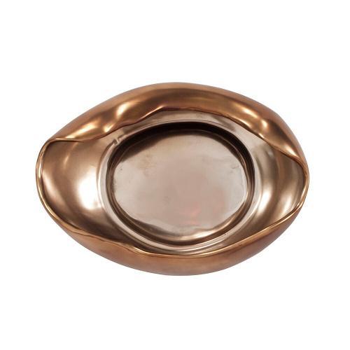 Howard Elliott - Matte Bronze Abstract Ceramic Bowl