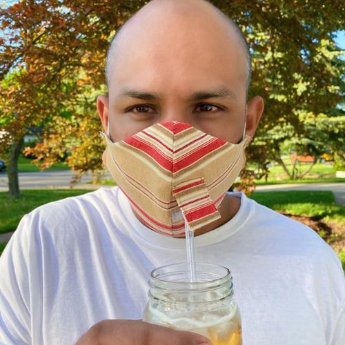 Happy Hour Reusable Face Mask in Yale Stripe Red