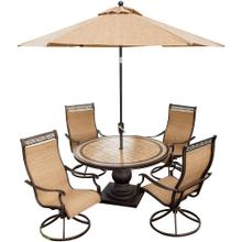 Monaco 5 Piece Outdoor Dining Set with Umbrella
