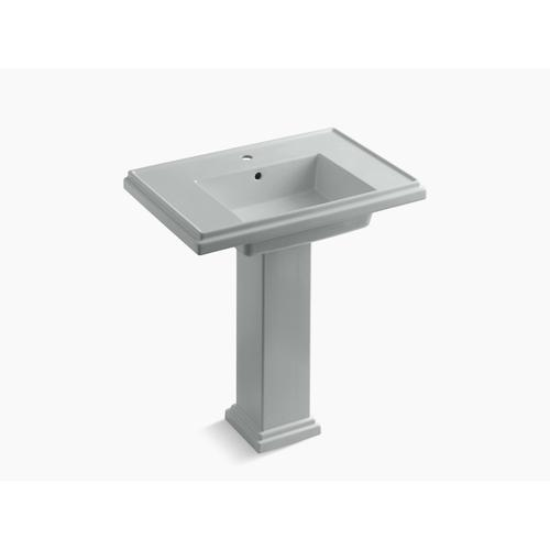 "Ice Grey 30"" Pedestal Bathroom Sink With Single Faucet Hole"