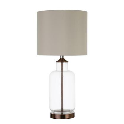 Transitional Clear and Bronze Table Lamp