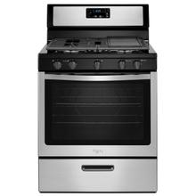 View Product - Whirlpool® 5.1 Cu. Ft. Freestanding 5-Burner Gas Stove Black-on-Stainless