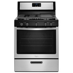 Whirlpool® 5.1 Cu. Ft. Freestanding 5-Burner Gas Stove Black-on-Stainless - BLACK-ON-STAINLESS