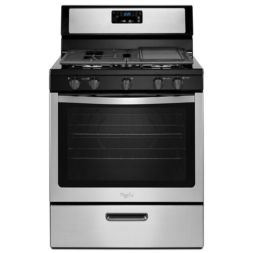 Whirlpool - Whirlpool® 5.1 Cu. Ft. Freestanding 5-Burner Gas Stove Black-on-Stainless