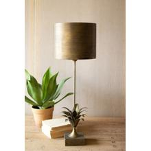 See Details - antique gold metal table lamp with leaf accent and metal shade