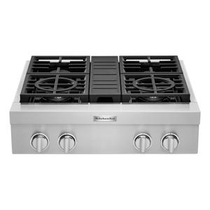KitchenAid® 30'' 4-Burner Commercial-Style Gas Rangetop Stainless Steel Product Image