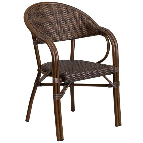 Cocoa Rattan Restaurant Patio Chair with Bamboo-Aluminum Frame