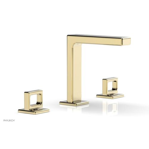 """MIX Widespread Faucet - Ring Handles 6-3/4"""" Height 290-03 - Polished Brass Uncoated"""