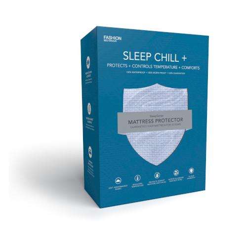 Sleep Chill + Crystal Gel Mattress Protector with Cooling Fibers and Blue 3-D Fabric, Split King