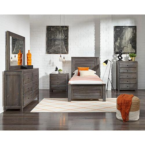 Twin Complete Bed - Charcoal Gray Finish