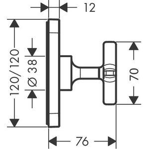 Brushed Black Chrome Shut-off valve 120/120 for concealed installation