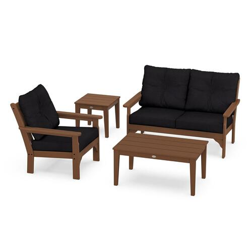 Vineyard 4-Piece Deep Seating Set in Teak / Midnight Linen