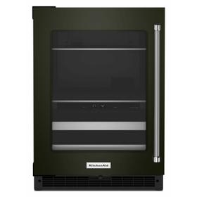 """24"""" Beverage Center with Glass Door and Metal-Front Racks - Black Stainless Steel with PrintShield™ Finish"""